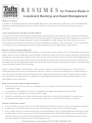 Investment Banking And Asset Management Resume Templates