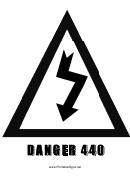 Danger 440 Sign Template