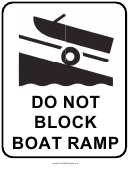 Do Not Block Boat Ramp Sign Template