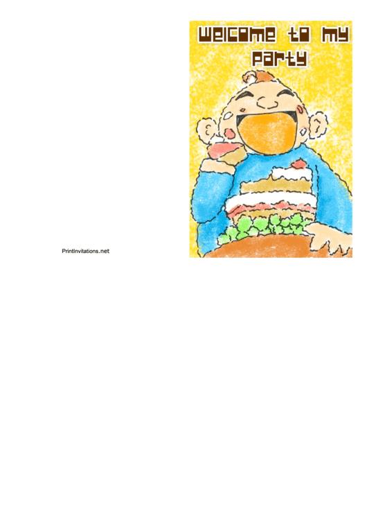 Party Invitation Template - Man Cake Printable pdf