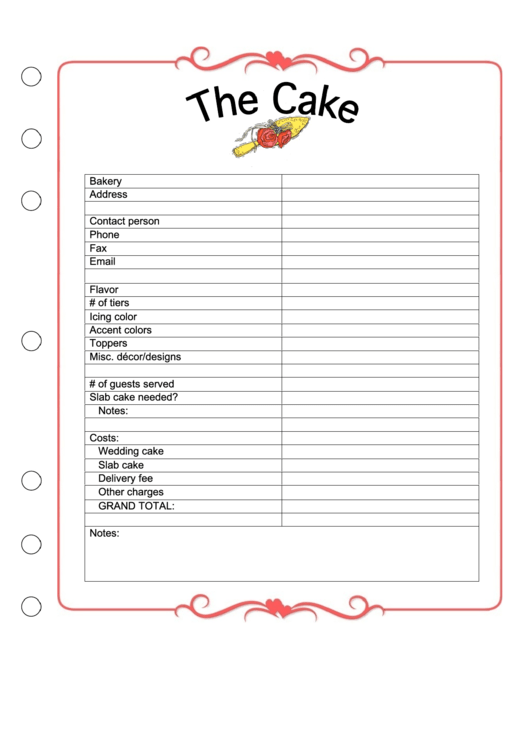 picture regarding Cake Order Forms Printable named Printable Marriage ceremony Cake Invest in Styles - Delectable Cake Recipe