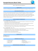 Sample Resume-bank Teller
