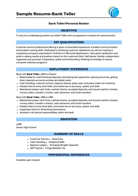 Sample Resume-Bank Teller Printable pdf