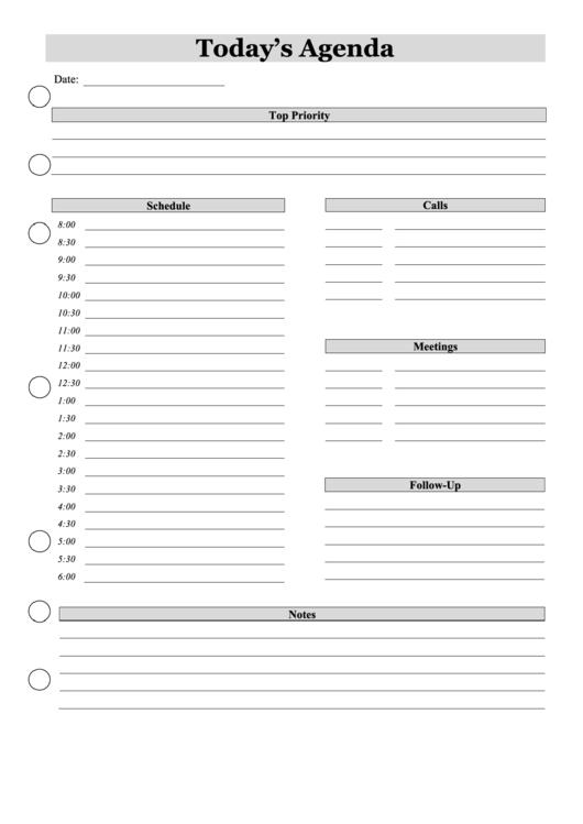 Today's Agenda Planner Template