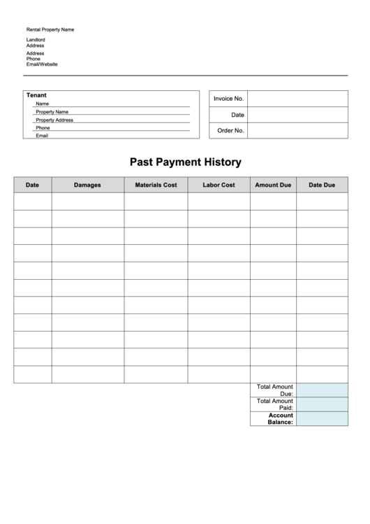 Past Payment Spreadsheet Template