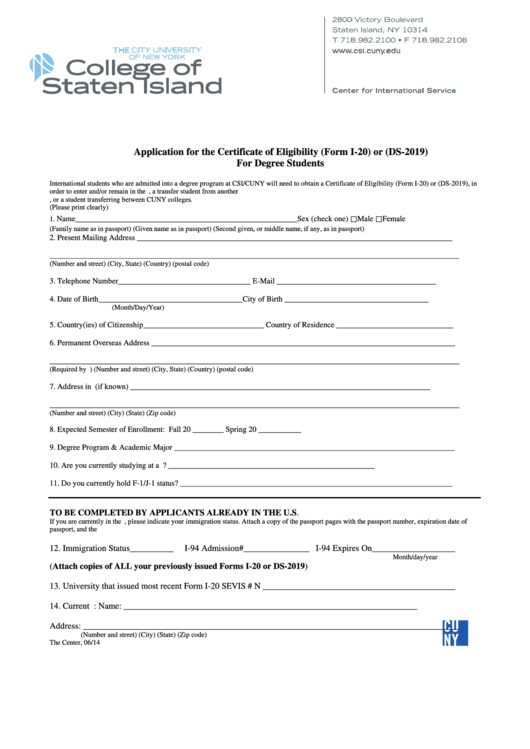 Application For The Certificate Of Eligibility Form I20 Or Ds2019