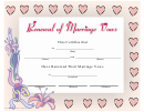 Renewal Of Marriage Vows Certificate Template - Pink Hearts
