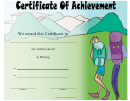 Hiking Certificate Of Achievement Template - Hiking