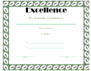 Certificate Of Excellence Template - Rugby