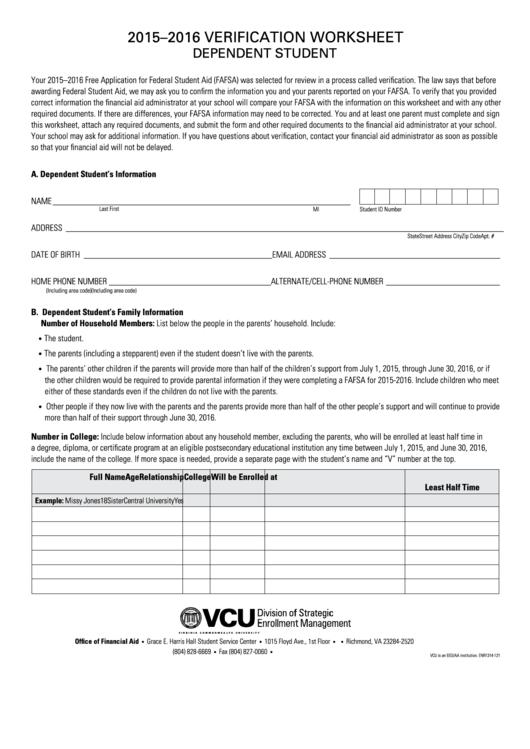 verification worksheet dependent student template 2015 2016 printable pdf download. Black Bedroom Furniture Sets. Home Design Ideas