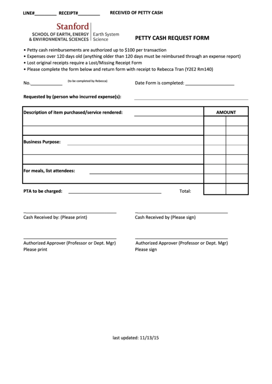 Stanford Petty Cash Request Form