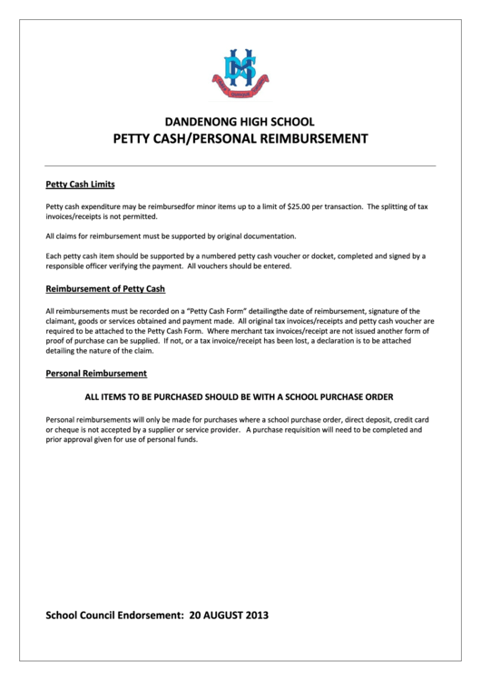 Dandenong High School Petty Cash/personal Reimbursement