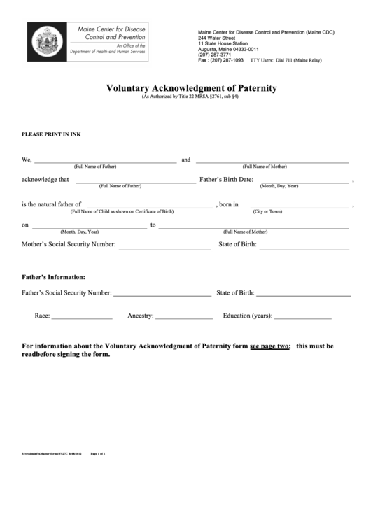 Voluntary Acknowledgment Of Paternity - Maine Center For Disease Control And Prevention