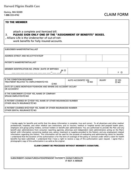 assignment of benefits form template - harvard pilgrim health care claim form printable pdf download