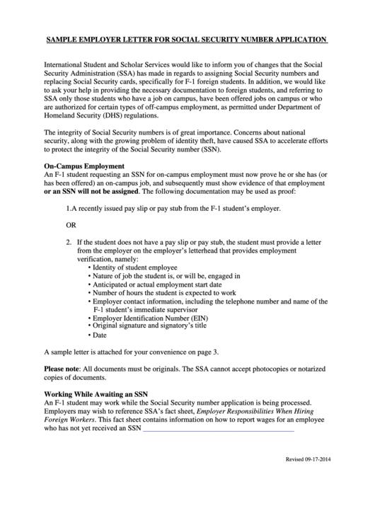 Sample Employer Letter For Social Security Number Application