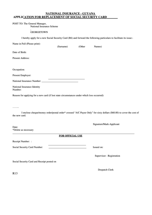 Application For Replacement Of Social Security Card