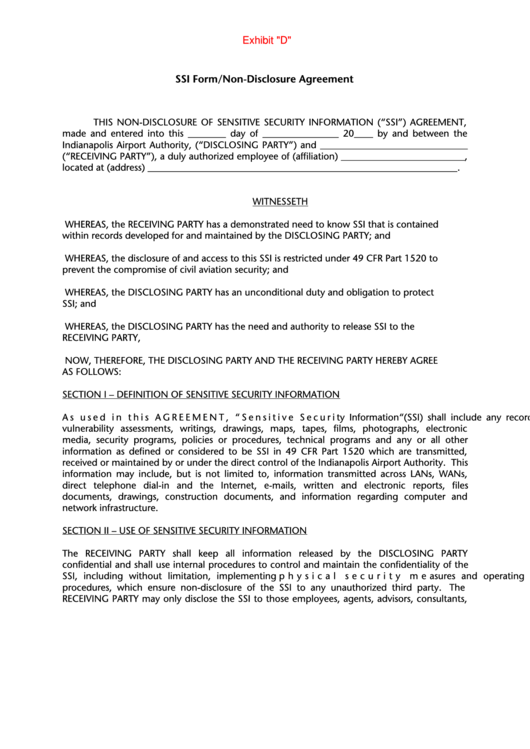 Ssi Form/non-disclosure Agreement
