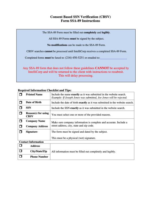 Fillable Form Ssa 89 - Social Security Administration Authorization For The Social Security Administration (Ssa) Printable pdf