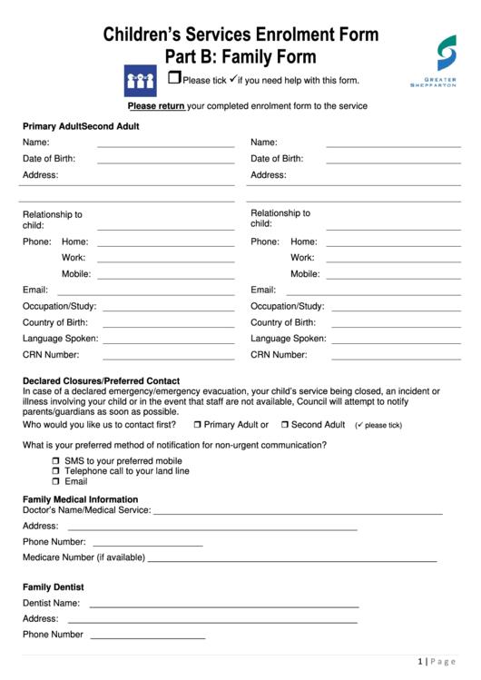 Children's Services Enrolment Form Part B: Family Form