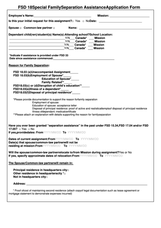 Fsd 18 Special Family Separation Assistance Application Form