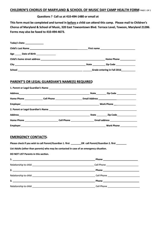 Children's Chorus Of Maryland & School Of Music Day Camp Health Form