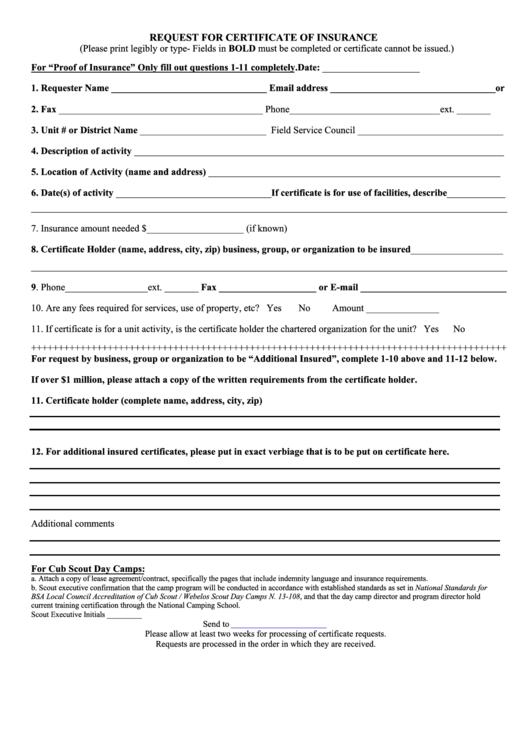 request for certificate of insurance form printable pdf. Black Bedroom Furniture Sets. Home Design Ideas