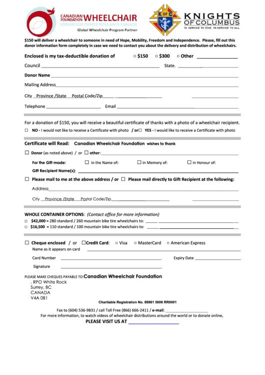 Canadian Wheelchair Foundation Donation Form printable pdf