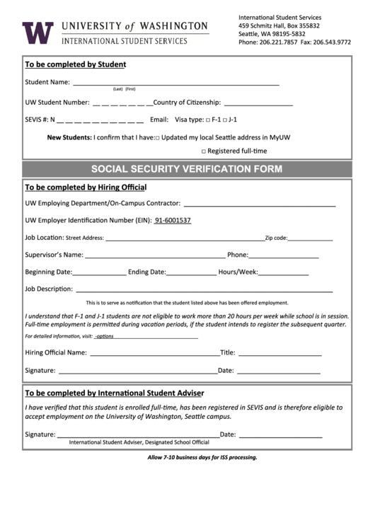 Social Security Verification Form