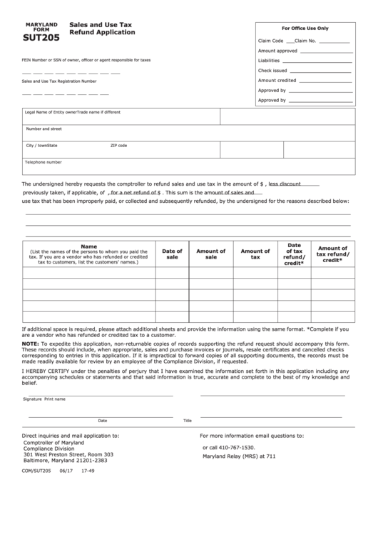 Top 14 Maryland Sales And Use Tax Form Templates free to download ...