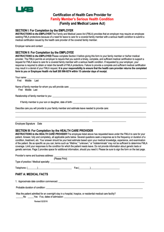73 Fmla Certification Form Templates Free To Download In Pdf