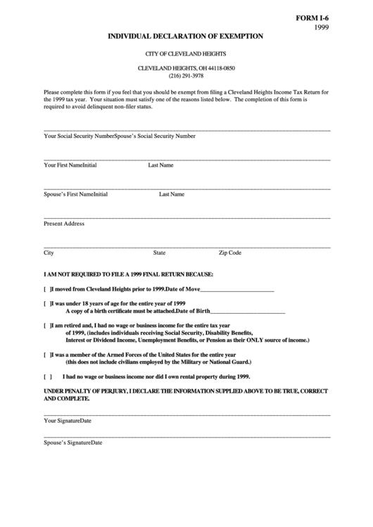Form I 6 Individual Declaration Of Exemption Printable