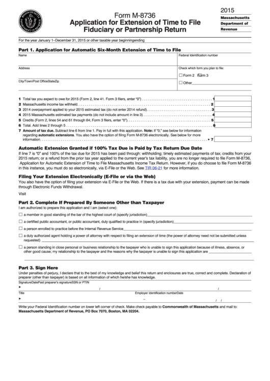 Form M-8736 - Application For Extension Of Time To File Fiduciary ...