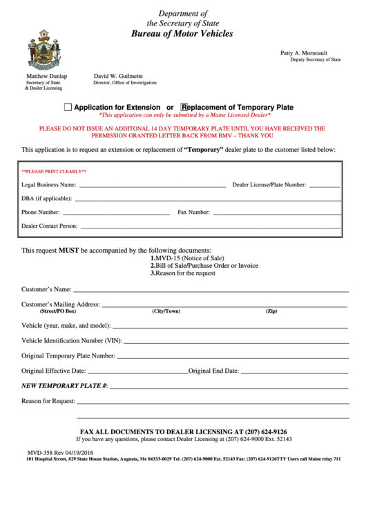 Form Mvd-358-extension-replacement Of Temporary Plate Application