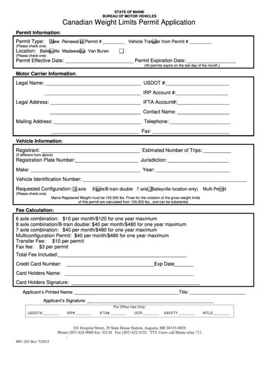 Canadian weight limits permit application form printable for Motor carrier permit renewal application