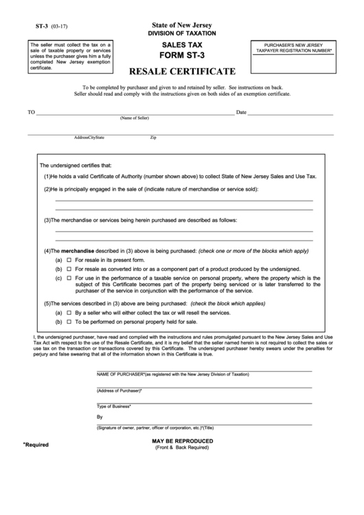 Form St-3 - Resale Certificate - State Of New Jersey Division Of ...