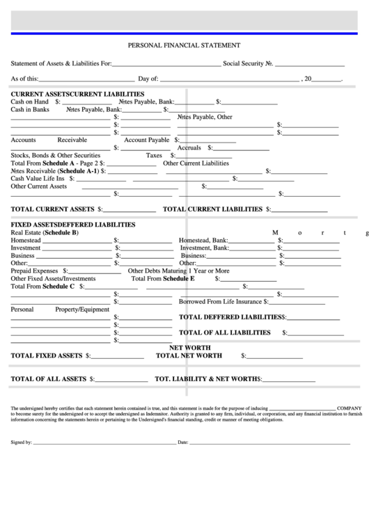 Personal Financial Statement Form - Tuttle & Traina ...