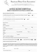 Application For Authorization To Conduct An Official Milking Competition Form
