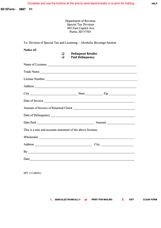 Fillable Form Spt 115 - Notice Of Delinquent Retailer Or Paid Delinquency Printable pdf