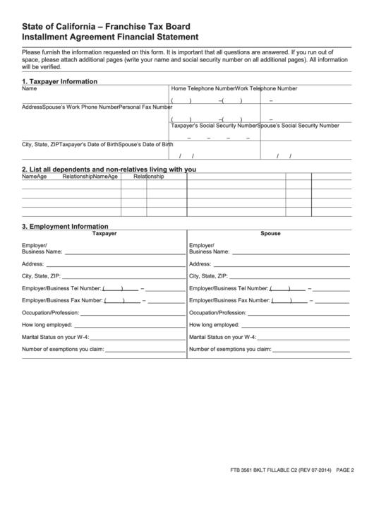 Form Ftb 3561 - Installment Agreement Financial Statement - State ...