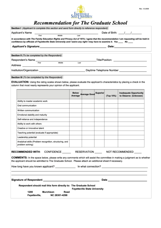 Recommendation For The Graduate School Form - Fayetteville State University