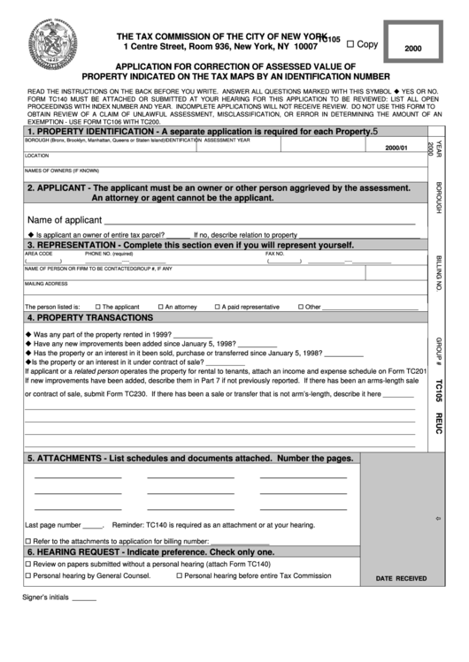 Form Tc105 - Application For Correction Of Assessed Value Of Property Indicated On The Tax Maps By An Identification Number - 2000 Printable pdf