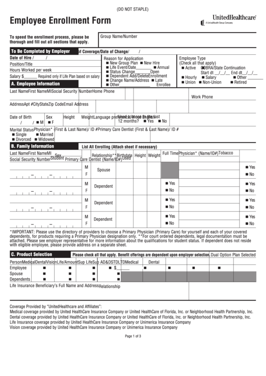 Top 51 United Healthcare Enrollment Form Templates free to ...