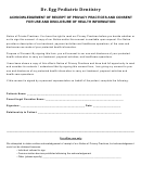Acknowledgement Of Receipt Of Privacy Practices And Consent For Use And Disclosure Of Health Information Form