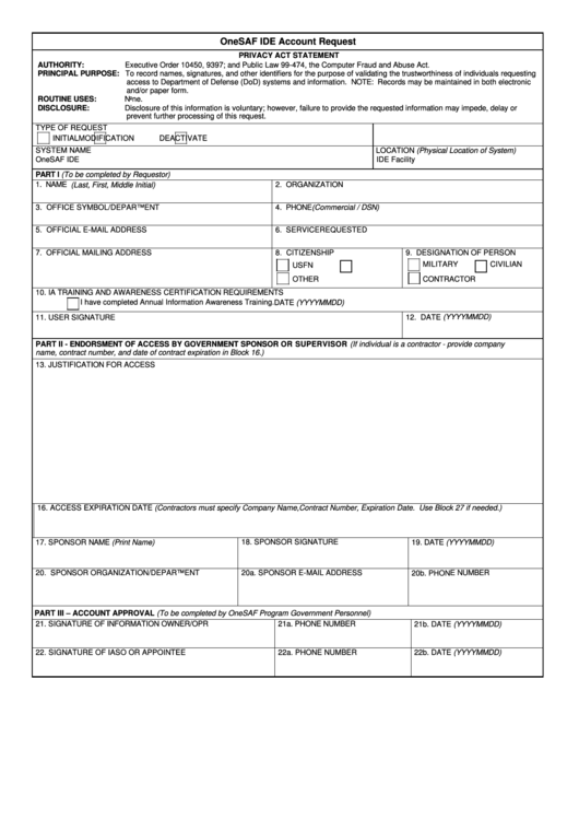 Fillable Onesaf Ide Account Request Form Printable pdf