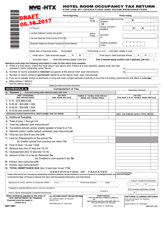 Form Nyc-htx Draft- Hotel Room Occupancy Tax Return