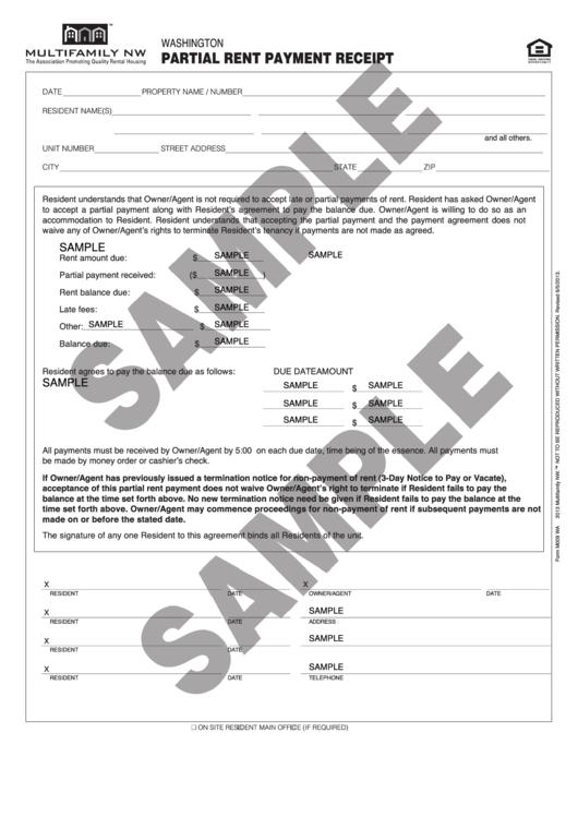 Sample Partial Rent Payment Receipt