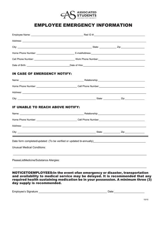 Employee Emergency Information Form