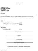 Form Inhs53 - Cover Letter - Certificate Of Domestication - Articles Of Incorporation - 2012