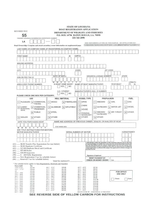 Form 55 Boat Registration Application State Of