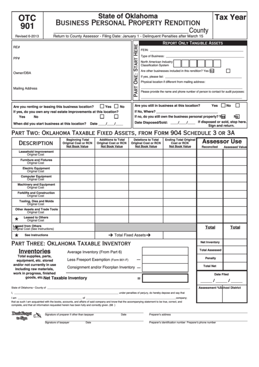 Fillable Form Otc 901 Business Personal Property